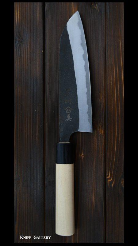 【黒崎 真】  三徳包丁 (165mm)白紙鋼 黒打ち