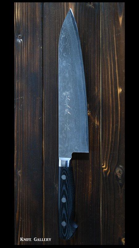 【越前金太郎】 牛刀包丁 七寸(210mm) VG10鋼 ニッケルダマスカス 磨き 墨流 洋柄