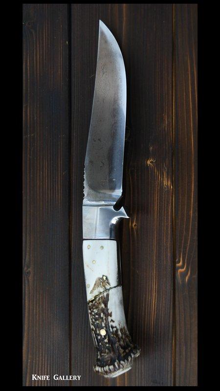 【影浦 賢】作 カスタムナイフ 墨流 鹿角柄 革鞘付き