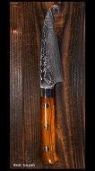 【佐治武士】 ペティナイフ(150mm)R2粉末ハイス鋼 鏡面仕上 ニッケルダマスカス アイアンウッド柄(ナイフシェイプ)桐箱付