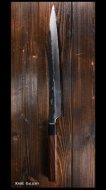 【弥氏 良寛】 柳刃 尺寸(300mm)  白紙鋼 黒打 槌目 紫檀八角