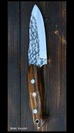 鍛造ナイフ 【飛鳥3型】 黒崎 優 作 R2粉末ハイス鋼 丸槌目 アイアンウッド柄