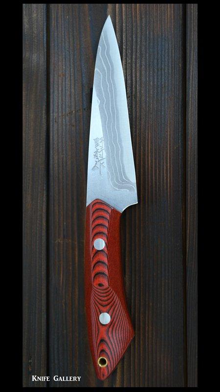 野村和生 作 カスタムナイフ 「雲」(刃長110mm) 白紙鋼 積層 マイカルタ柄 革鞘付