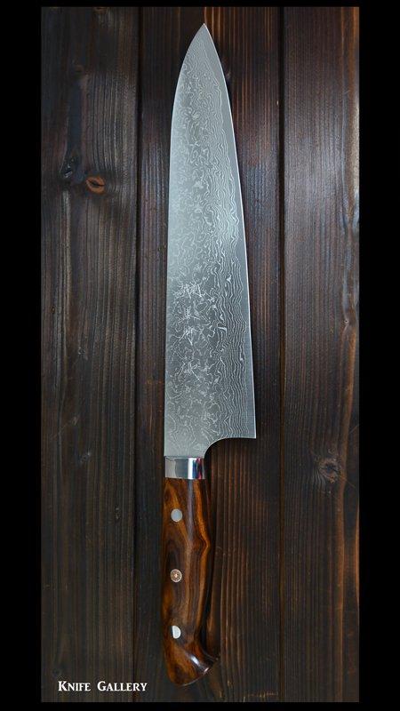 黒崎優   牛刀包丁(240mm) R2粉末ハイス鋼 ダマスカス アイアンウッド