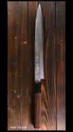 越前鍛冶 【北岡 英雄】 柳刃包丁 八寸(240mm) 白紙鋼 墨流 紫檀八角柄