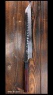 弥氏 良寛 Yoshihiro Yauji 切付包丁(270mm) 片刃 白紙鋼  黒打 槌目 紫檀八角柄