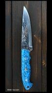 黒崎 優 Yu Kurosaki 鍛造ナイフ【アクアマリン1型】  SG2鋼 ダマスカス 人工ターコイズ柄 革鞘付き