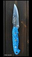 鍛造ナイフ【アクアマリン�型】黒崎優 作  VG10鋼 人工ターコイズ柄 革鞘付き