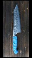 黒崎優 作 三徳包丁(170mm) SRS13粉末ハイス鋼 風神型 人工ターコイズ柄