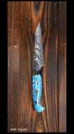 黒崎優 作 ペティナイフ(100mm) SRS13粉末ハイス鋼 風神型 人工ターコイズ柄
