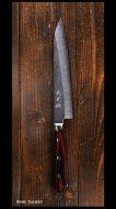 【越前金太郎】ペティナイフ (150mm) 青紙スーパー鋼 ステンクラッド 黒打ち 合板洋柄