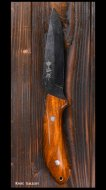 中山泰宏 作 カスタムナイフ 白紙鋼 多層鋼 黒打 アイアンウッド柄 革鞘付き