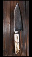 【影浦 賢】 牛刀包丁(160mm)ダマスカス  鹿角柄 青紙二号鋼