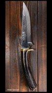 野村和生 作 カスタムナイフ ハンティング(刃長130mm) VG10鋼 鹿角柄 革鞘付