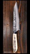 【佐治 武士】 ペティナイフ(130mm)  SRS13粉末ハイス鋼 ダマスカス 丸槌目 鹿角柄