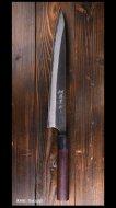【安立勝重】 筋引き包丁(270mm) 白紙鋼 黒打ち 墨流 紫檀丸柄