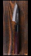 【安立勝重】 ペティナイフ(75mm) 白紙鋼 黒打ち 墨流 紫檀丸柄