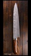 佐治武士 Takeshi Saji 牛刀包丁 (270mm) R2粉末ハイス鋼 ダマスカス 黒仕上 アイアンウッド柄 飾りピン付き 桐箱入