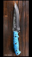 黒崎 優 Yu Kurosaki 鍛造ナイフ 【風神1型】  VG10鋼 人工ターコイズ柄 飾りピン 革鞘付き