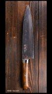 佐治武士 Takeshi Saji 牛刀包丁(210�) 青紙鋼 有色ダマスカス  アイアンウッド柄 飾りピン付き 桐箱入り