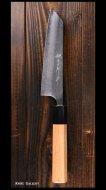 【越前金太郎】小文化包丁 (135mm) 青紙スーパー鋼 ステンクラッド 梨地 アメリカンチェリー八角柄