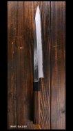 越前鍛冶 【北岡 英雄】 柳刃包丁 八寸 (240mm)  青紙鋼 紫檀八角柄 ☆SALE☆