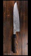 黒崎 真 牛刀包丁 210mm VG10鋼 墨流 黒檀八角柄