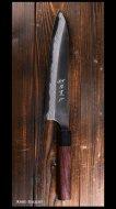 安立 勝重 Katsushige Anryu 牛刀包丁210mm 白紙鋼 黒打ち 墨流 紫檀丸柄※B品※4
