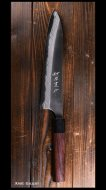 安立 勝重 Katsushige Anryu 牛刀包丁210mm 白紙鋼 黒打ち 墨流 紫檀丸柄※B品※3