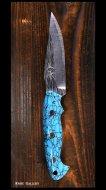 黒崎 優 Yu Kurosaki 鍛造ナイフ【アクアマリン2型】 SG2鋼 人工ターコイズ柄 革鞘付き