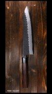 弥氏 良寛 Yoshihiro Yauji 牛刀包丁240mm 片刃 白紙鋼 槌目 紫檀八角