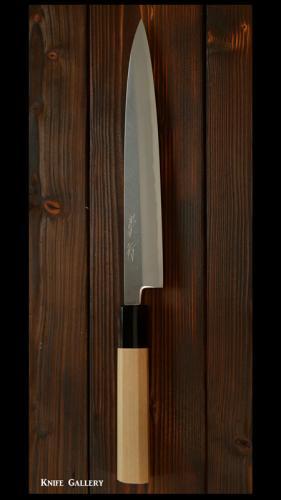 【柳刃包丁】七寸(210mm) 白紙鋼  水牛 朴八角柄 鞘付 (崇行)