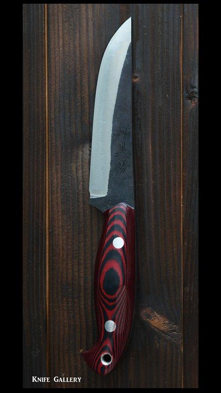 鍛造ナイフ 【翼1型】 越前(黒埼 優)作 青紙スーパー鋼  革製鞘付