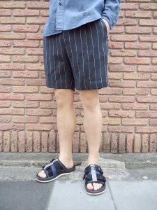 【残り1点】WACKO MARIA (ワコマリア) PLEATED SHORT TROUSERS (TYPE-5) (ショーツ) Black - White Stripe