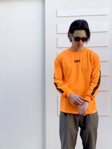 THE HARD MAN (ザハードマン) WAX basic L/S tee (プリントロングスリーブ) オレンジ