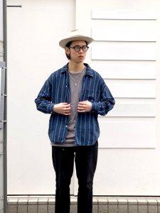 REMI RELIEF (レミレリーフ) ストライプワイドシャツ INDIGO