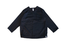 WAX (ワックス) Wool mix V neck shirts (ウールミックスブイネックシャツ) BLACK