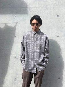 【40%OFF】HEMSTITCH SELECT  (ヘムステッチセレクト) オーバーサイズペイズリーシャツ GRAY