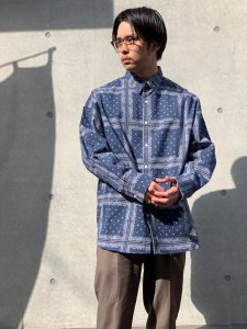 HEMSTITCH SELECT  (ヘムステッチセレクト) オーバーサイズペイズリーシャツ NAVY