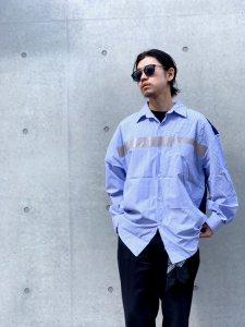 HEMSTITCH SELECT  (ヘムステッチセレクト) 切替ストライプシャツ BLUE