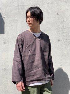 WAX (ワックス) Linen sleeping shirts (リネンスリーピングシャツ) BROWN