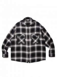 COOTIE (クーティー) Ombre Nel Check Zip Up Shirt (オンブレネルチェックジップアップシャツ) Black