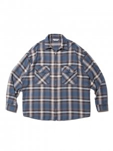 COOTIE (クーティー) Ombre Nel Check Zip Up Shirt (オンブレネルチェックジップアップシャツ) Smoke Blue