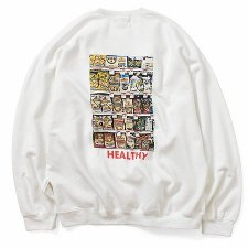 【30%OFF】TONY TAIZSUN (トニータイズサン) Pray For Your Health Crew Sweat (プリントクルースェット) WHITE