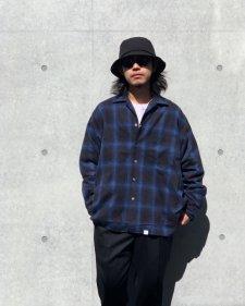 【残り1点】WAX (ワックス) Ombre check open collar shirts (オンブレチェックオープンカラーシャツ)BLUE