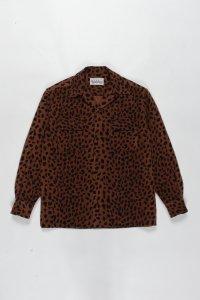 【残り1点】WACKO MARIA (ワコマリア) LEOPARD WOOL OPEN COLLAR SHIRT (レオパードウールオープンカラーシャツ) BROWN
