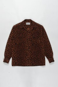WACKO MARIA (ワコマリア) LEOPARD WOOL OPEN COLLAR SHIRT (レオパードウールオープンカラーシャツ) BROWN