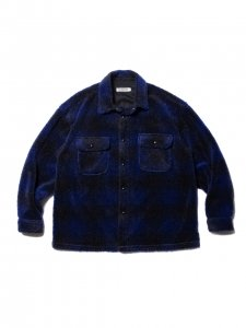 COOTIE (クーティー) Ombre Boa Check CPO Jacket (オンブレボアチェックCPOジャケット) Blue
