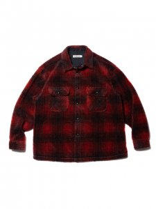 COOTIE (クーティー) Ombre Boa Check CPO Jacket (オンブレボアチェックCPOジャケット) Red