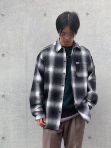 Cal Top (カルトップ) OMBRE CHECK L/S SHIRTS(オンブレチェック長袖シャツ) BLACK